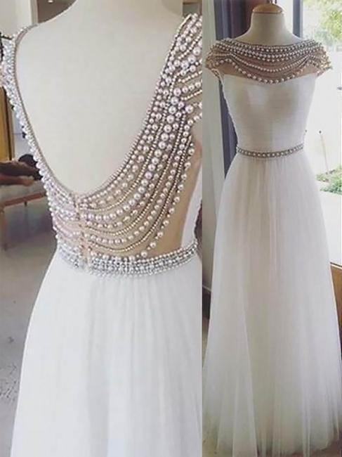 Glamorous Jewel Beads Open Back Prom Dresses | Sleeveless Tulle Evening Dresses with Belt