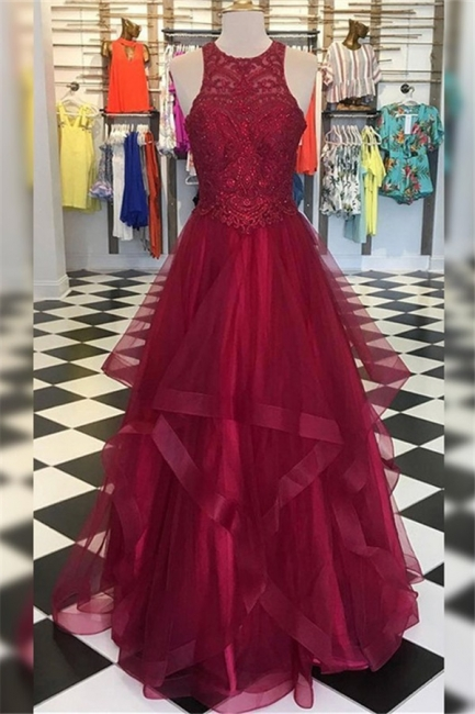 Glamorous Halter Applique Ruffles Prom Dresses Sleeveless Sexy Evening Dresses with Beads