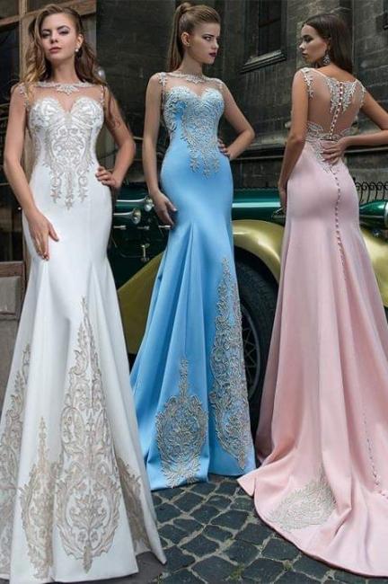 Pink Illusion Neckline Formal Dresses, Sky Blue Sheer Formal Dresses Online Sale | Suzhou UK Online Shop