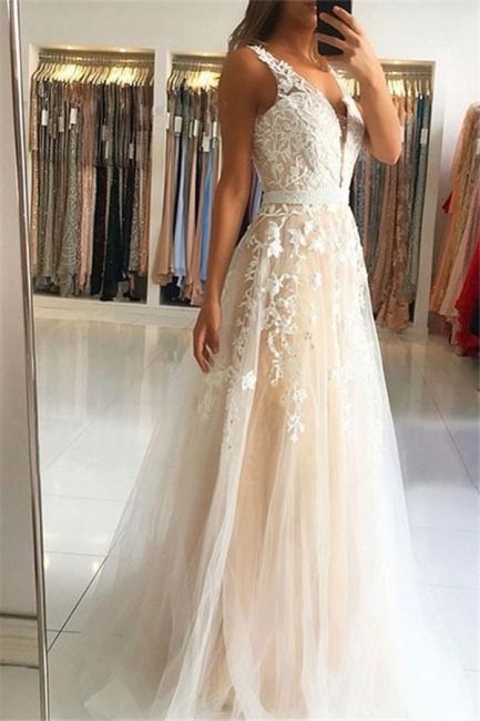 Lace Appliques V-neck Sequins Prom Dresses | Open Back Sleeveless Evening Dresses