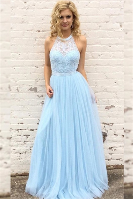 Glamorous Lace Halter Prom Dresses Sleeveless Tulle Sexy Evening Dresses with Belt