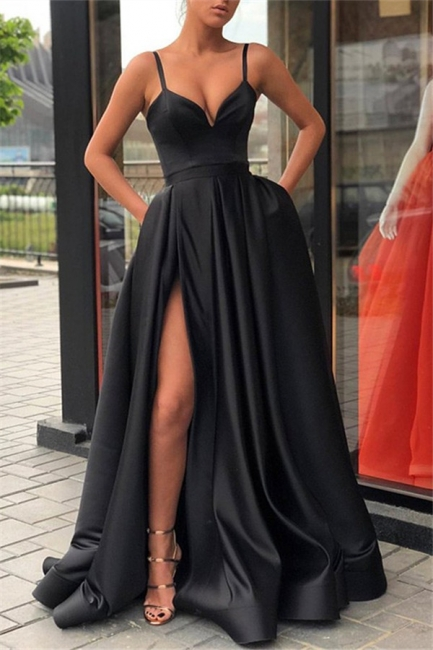 Black Spaghetti Strap Side Slit Prom Dresses Sleeveless Sexy Evening Dresses with Pocket