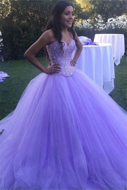 Glamorous Crystal Sweetheart Applique Prom Dresses Ball Gown Sleeveless Sexy Evening Dresses