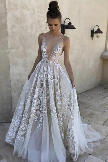 Lace Appliques Spaghetti-Strap Prom Dresses | Sheer  Sleeveless Evening Dresses