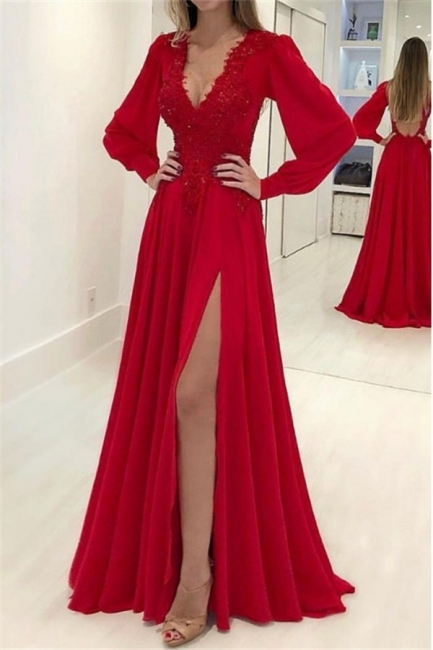Glamorous Res V-Neck Long Sleeves Prom Dresses Side Slit Applique Sexy Evening Dresses with Beads
