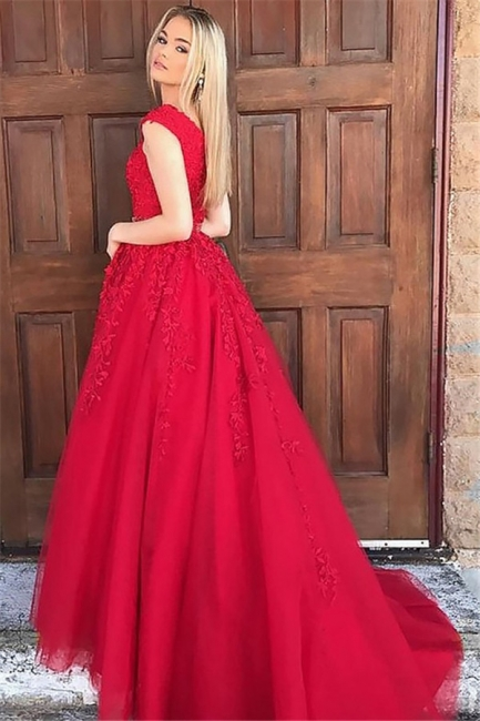 Fashion Red V-Neck Lace Appliques Prom Dresses | Sleeveless Evening Dresses with Beads