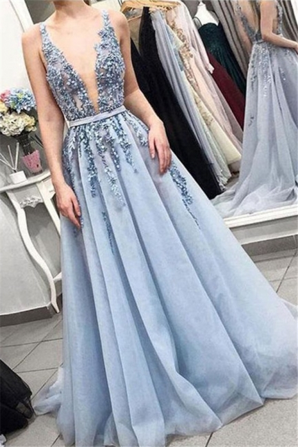V-Neck Lace Appliques Ruffles Prom Dresses | Tulle Sleeveless Evening Dresses with Beads