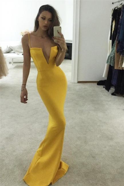Spaghetti-Strap Prom Dresses   Keyhole Sexy Mermaid Sleeveless Evening Dresses