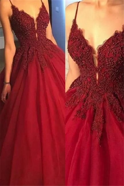 Glamorous Spaghetti Strap Beads Prom Dresses Red Lace Ball Gown Sexy Evening Dresses