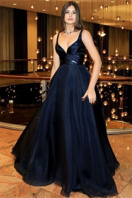 Black Spaghetti Strap Prom Dresses Sleeveless  Tulle Sexy Evening Dresses