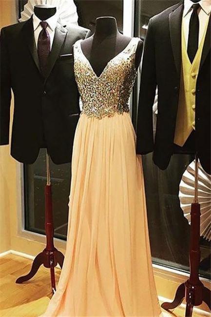 V-Neck Crystal Tulle Prom Dresses | Sleeveless Popular  Evening Dresses