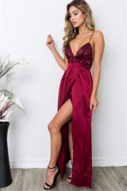 Burgundy Sequins Spaghetti Strap Prom Dresses Lace Up Sleeveless Side Slit Sexy Evening Dresses