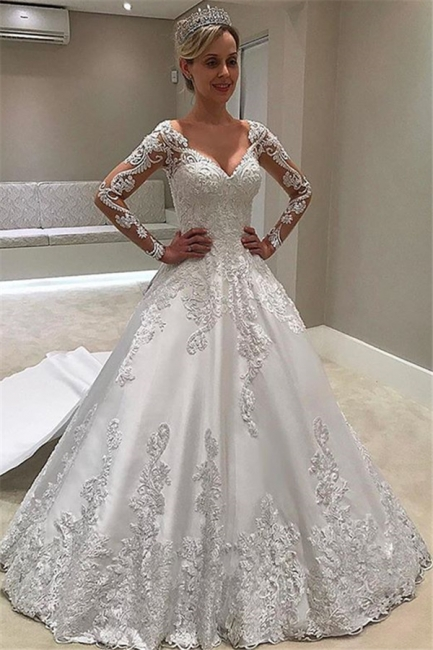 Chic Sweetheart Lace Princess Ivory Wedding Dresses Long-Sleeves Appliques Bridal Gowns On Sale