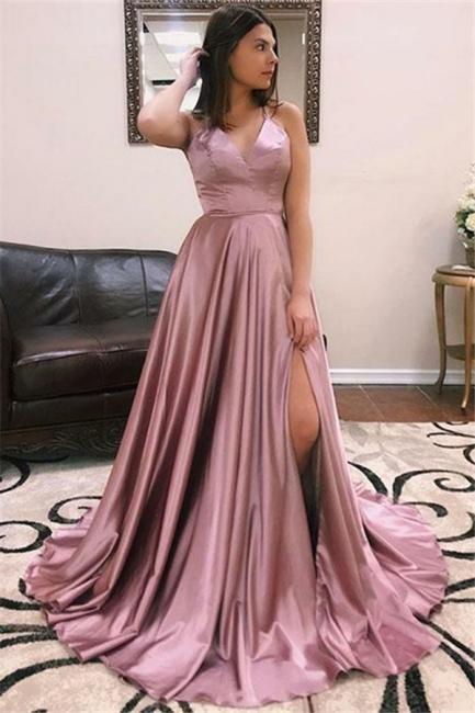 Princess A-line Sexy Low Cut Summer Sleeveless Front Slit Long Prom Dresses | Suzhou UK Online Shop