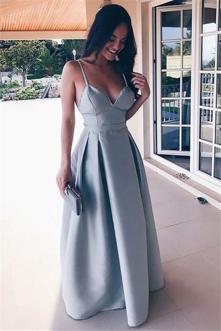 Glamorous Spaghetti Strap Ruffles Prom Dresses | Sleeveless Open Back Evening Dresses