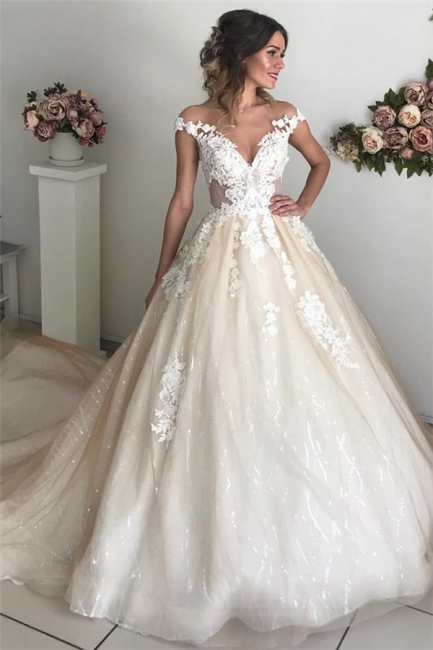 Sexy Applique Off-the-Shoulder Wedding Dresses | Sequins Backless Sleeveless Floral Bridal Gowns