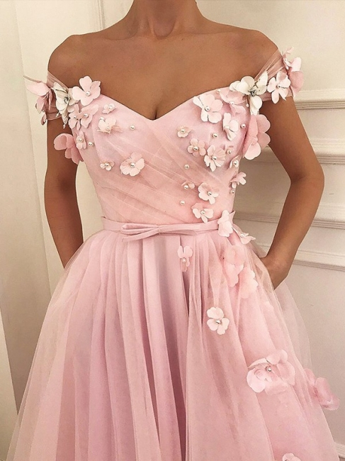 Pink Flower Off-the-Shoulder Prom Dresses Sleeveless Beads Sexy Evening Dresses with Belt