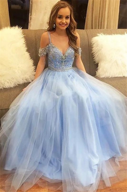 Glamorous Crystal SpagheetiStraps Prom Dresses | Sheer  Sequins leeveless Evening Dresses