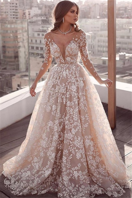 Gorgeous Lace Applique Wedding Dresses | Long Sleeves Floral Bridal Gowns
