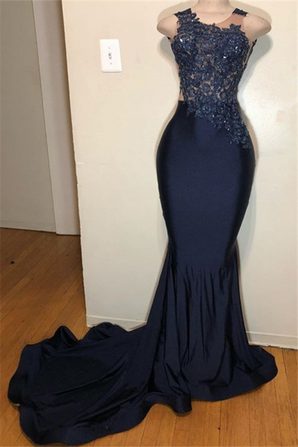 Dark Blue Straps Summer Sleeveless Applique Trumpet Prom Dress | Suzhou UK Online Shop