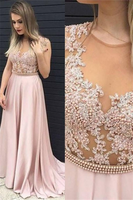 Jewel Beads Lace Appliques Prom Dresses | Pink Sleeveless Tulle Evening Dresses