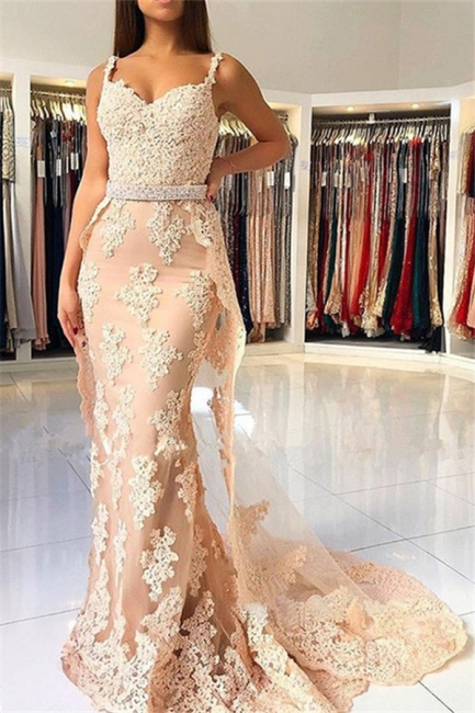 Lace Spaghetti Strap Mermaid Prom Dresses  Sleeveless Sexy Evening Dresses with Over-skirt
