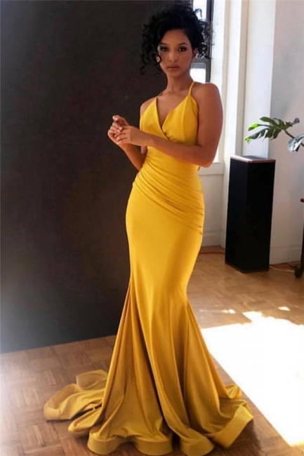 Yellow Spaghetti-Straps Sexy Low Cut Ruffle Trumpet Evening Gown | Suzhou UK Online Shop