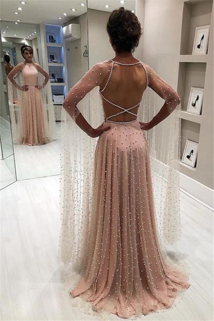 Elegant Pink Sheer-Quality Tulle Trendy Backless Beading Princess A-line Prom Dress | Suzhou UK Online Shop