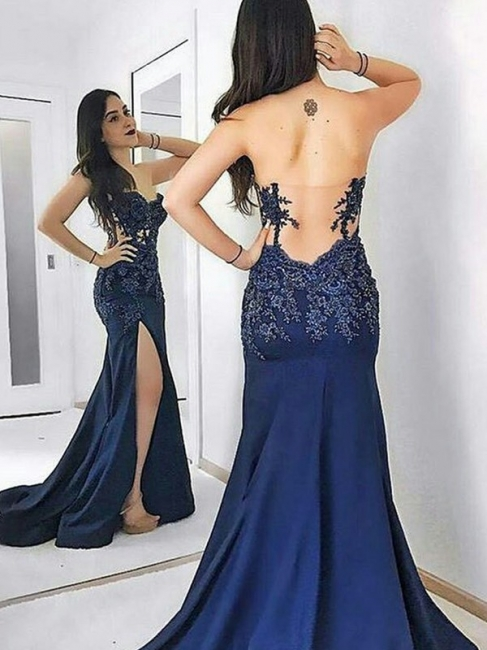 Navy Blue Sweetheart Applique Prom Dresses Mermaid Open Back Side Slit Sexy Evening Dresses