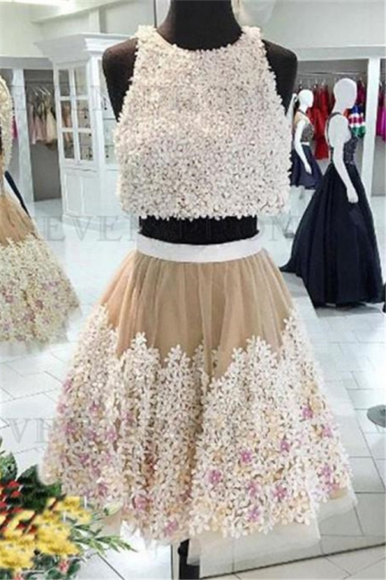 Crystal Lace Appliques Jewel Homecoming Dresses | Two Piece Sleeveless Short Party Dresses