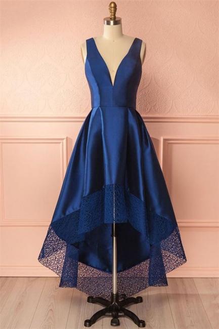 Glamorous Thick Satin Straps Prom Dresses | Hi-Lo Lace Sleeveless Evening Dresses