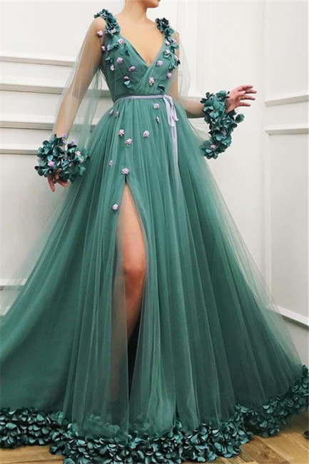 Glamour Pool Sleeved Quality Tulle Side-Slit Princess A-line Prom Dress | Suzhou UK Online Shop