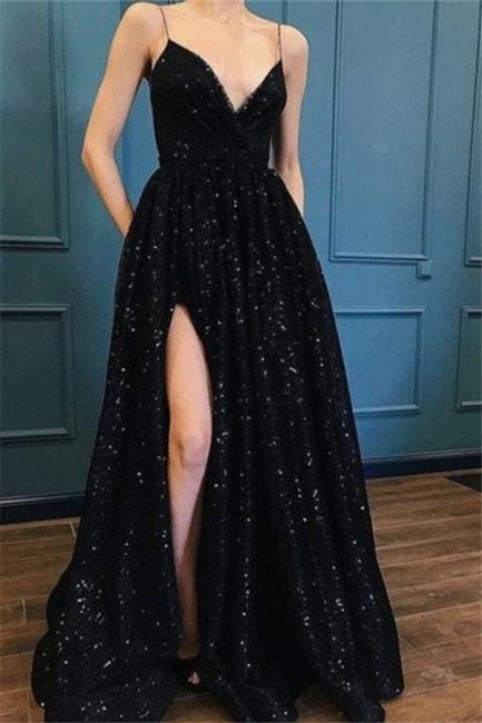 Spaghetti Strap Sequins Prom Dresses Sleeveless Side Slit Sexy Evening Dresses
