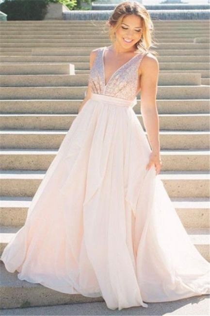 Glamorous V-Neck Sequins Ruffles Prom Dresses Sleeveless Open Back Sexy Evening Dresses