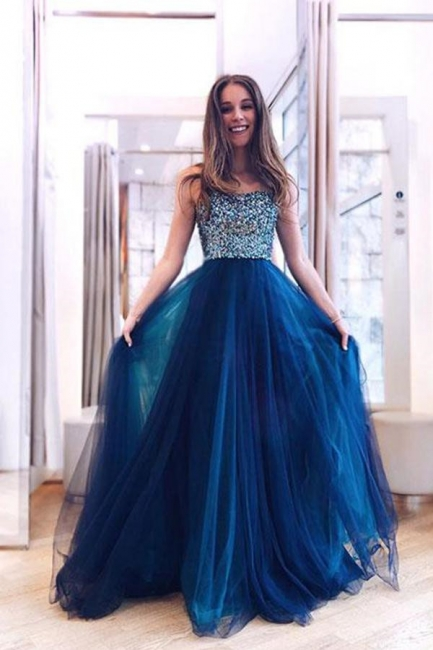Glamorous Straps Crystal Lace Appliques Prom Dresses   Sheer Sleeveless Evening Dresses