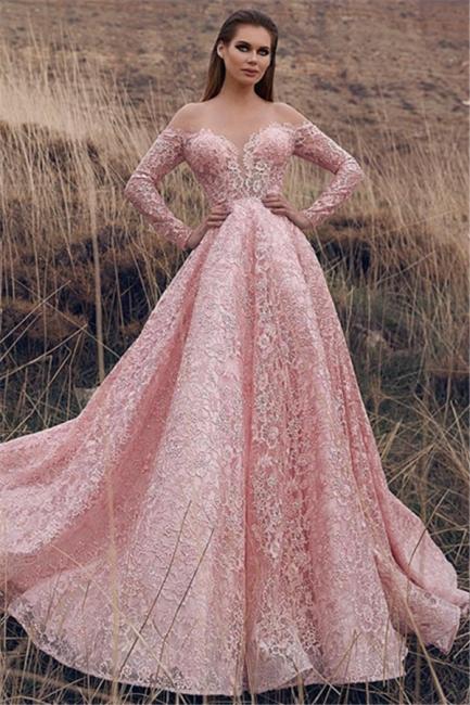 Pink Off-The-Shoulder Sleeved Lace Applique Princess Princess A-line Prom Dresses | Suzhou UK Online Shop