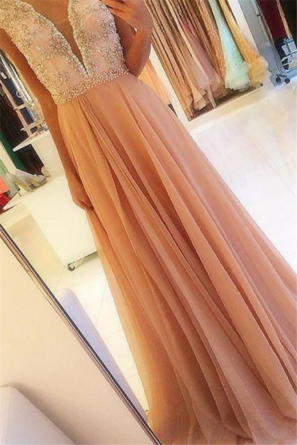 Glamorous Open Back Lace Appliques Prom Dresses | Tulle  Evening Dresses with Crystal