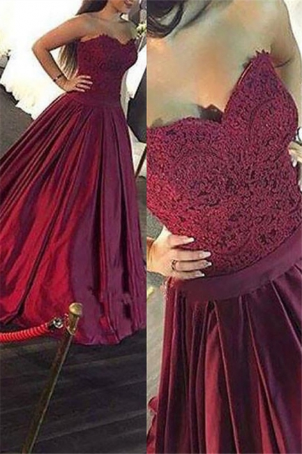Burgundy Sweetheart Lace Appliques Prom Dresses | Ruffles Sleeveless Evening Dresses Cheap