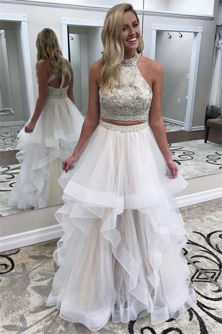 Beads halter Lace Appliques Prom Dresses | Two Piece Tulle Sleeveless Evening Dresses