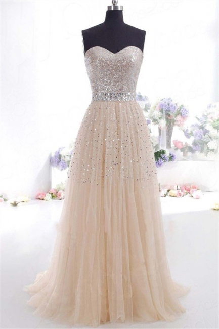 Glamorous Sweetheart Sequins Pink Prom Dresses | Sleeveless Open Back Crystal Evening Dresses
