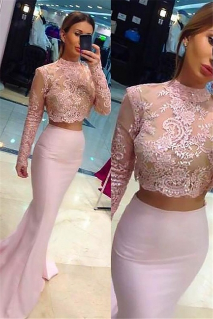 Glamorous High Neck Lace Appliques Long Sleeves Prom Dresses | Sexy Mermaid Pink Lace Two Piece Evening Dresses