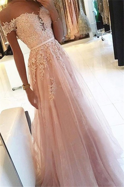 Pink Off-the-Shoulder Lace Appliques Prom Dresses | Tulle Sleeveless  Evening Dresses