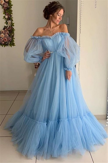 Glamour Off-The-Shoulder Sleeved Sheer-Quality Tulle Princess A-line Prom Dress | Suzhou UK Online Shop