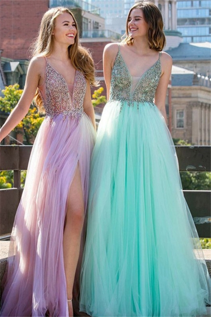 Sequins Spaghetti Strap Prom Dresses Sleeveless Tulle Side Slit Sexy Evening Dresses