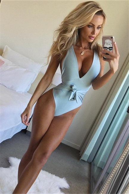 One Piece Sexy V-Neck Halter Ribbon Bow Swimwear Suits