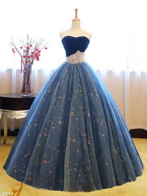 Sweetheart Lace Flower Crystal Prom Dresses Sleeveless Ball Gown Sexy Evening Dresses with Beads