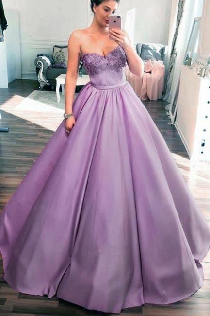 Glamorous Sweetheart Lace Appliques Prom Dresses | Cheap Ribbon Sleeveless Evening Dresses