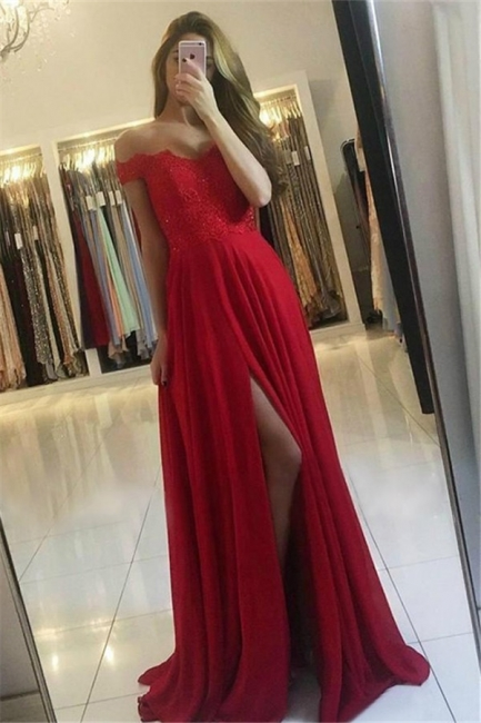 Off-the-Shoulder Lace Appliques Prom Dresses | Side Slit Sleeveless Evening Dresses with Beads