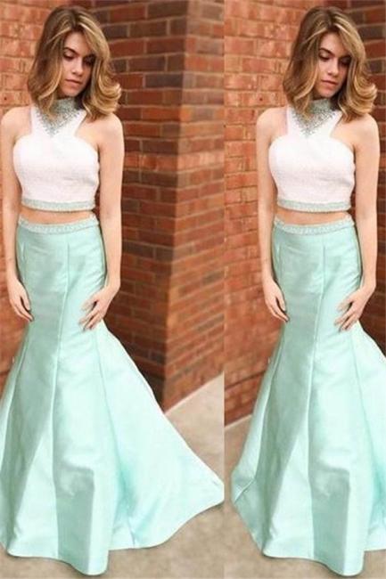 Glamorous Halter Crystal Sexy Mermaid Prom Dresses | Two Piece Ruffles Sleeveless Evening Dresses