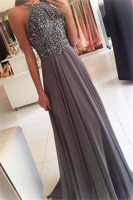 Glamorous Halter Lace Appliques Crystal Prom Dresses   Sleeveless  Evening Dresses with Beads